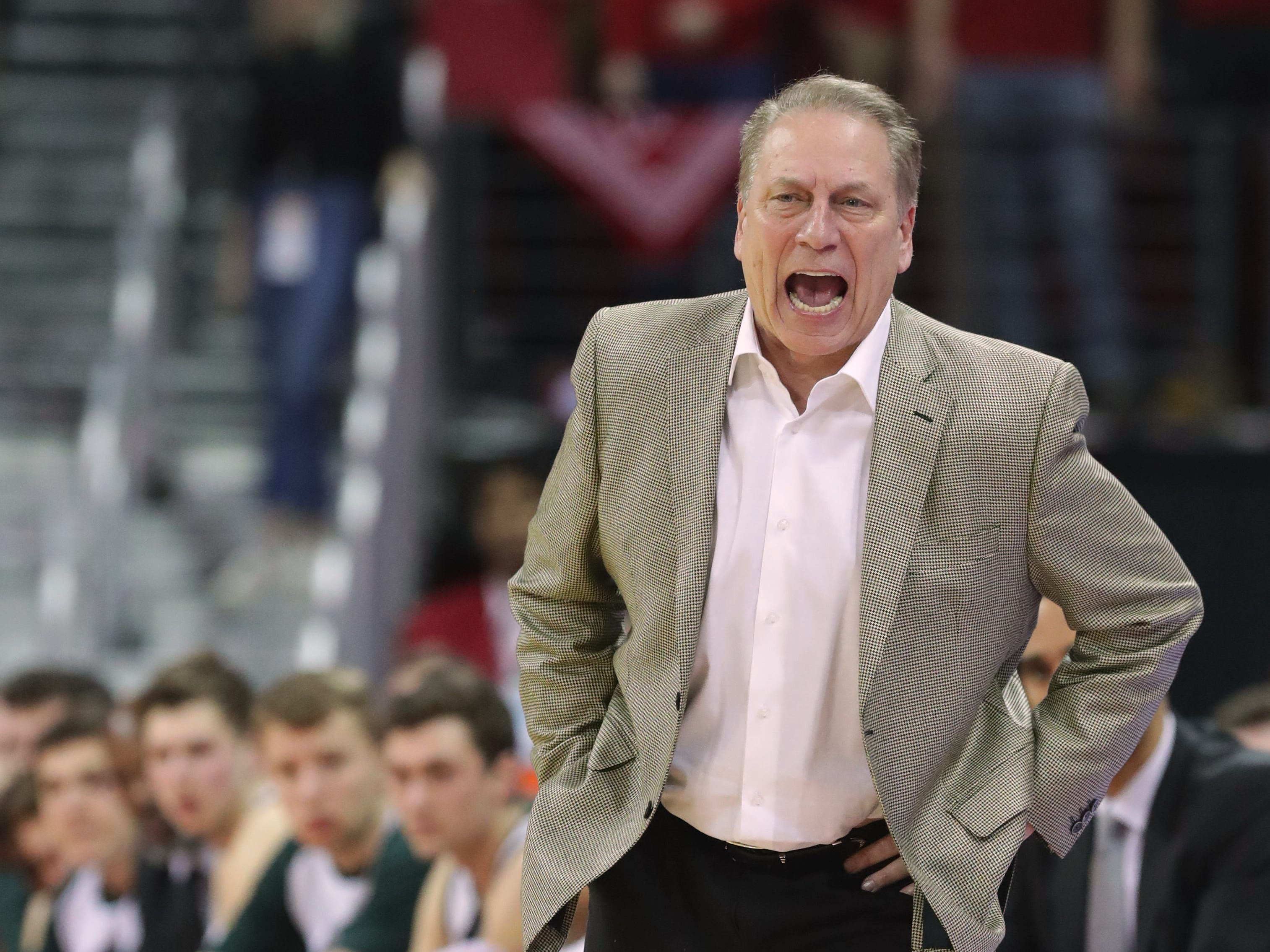 Michigan State head coach Tom Izzo appears to be unhappy with a call in the first half.