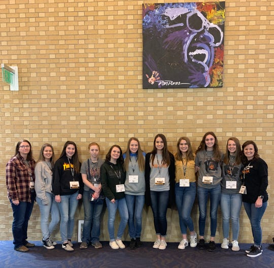 The Calico Rock Senior Beta club members recently attended the State Beta Convention and competition in Hot Springs, AR. Nine members attended and competed in various categories, including several academic competitions, talent, and visual art competitions. Pictured are (from left) Melva Brannon, sponsor; Sarah Colbert; Naomi Bishop; Nicole Freeman; Emerson Wilbur; Keeley Pool; Emma Mitchell; Chase Fountain; Jude Lindsey; Anna Kearbey; and April Killian, sponsor. Anna Kearbey competed in the Visual Arts-Photography competition and placed fourth. This qualifies her for national competition during the summer in Oklahoma City, Okla.