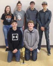 Members of the Calico Rock junior quiz bowl team are: (first row, from left) Audric Browning, Riley Whiteaker, (second row) Allison Humphries, Emma Colbert, Zane Fountain and Blake Moody.