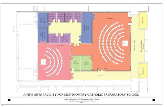 Plans for a fine arts facility at Montgomery Catholic Preparatory School.
