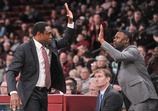 Feb 12, 2019; Starkville, MS, USA; Alabama Crimson Tide head coach Avery Johnson celebrates during the first half against the Mississippi State Bulldogs at Humphrey Coliseum. Mandatory Credit: Justin Ford-USA TODAY Sports