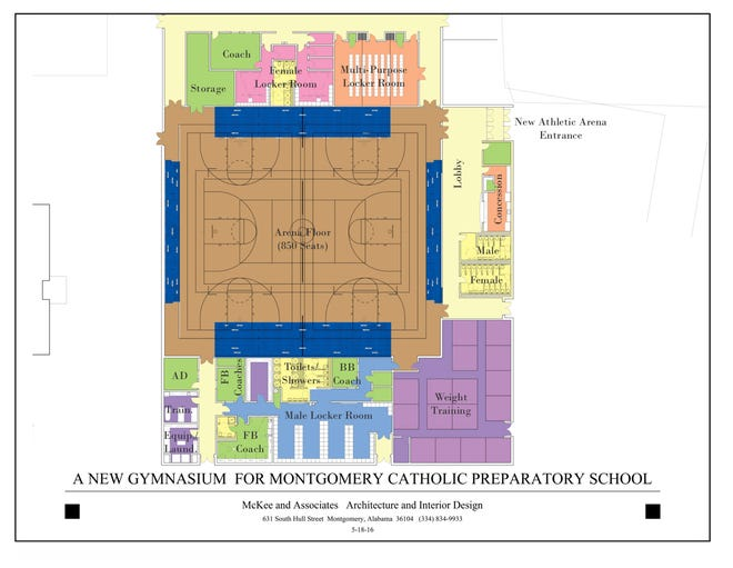 Plans for a new gymnasium at Montgomery Catholic Preparatory School.