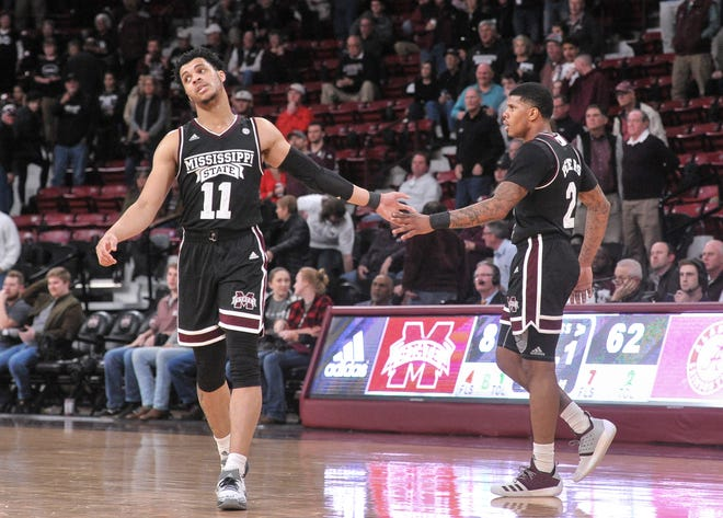 Feb 12, 2019; Starkville, MS, USA; Mississippi State Bulldogs guard Quinndary Weatherspoon (11) and Mississippi State Bulldogs guard Lamar Peters (2) during the second half against the Alabama Crimson Tide at Humphrey Coliseum. Mandatory Credit: Justin Ford-USA TODAY Sports