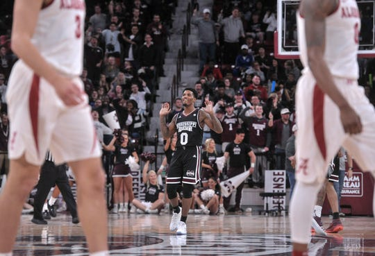 Feb 12, 2019; Starkville, MS, USA; Mississippi State Bulldogs guard Nick Weatherspoon (0) reacts during the second half against the Alabama Crimson Tide at Humphrey Coliseum. Mandatory Credit: Justin Ford-USA TODAY Sports