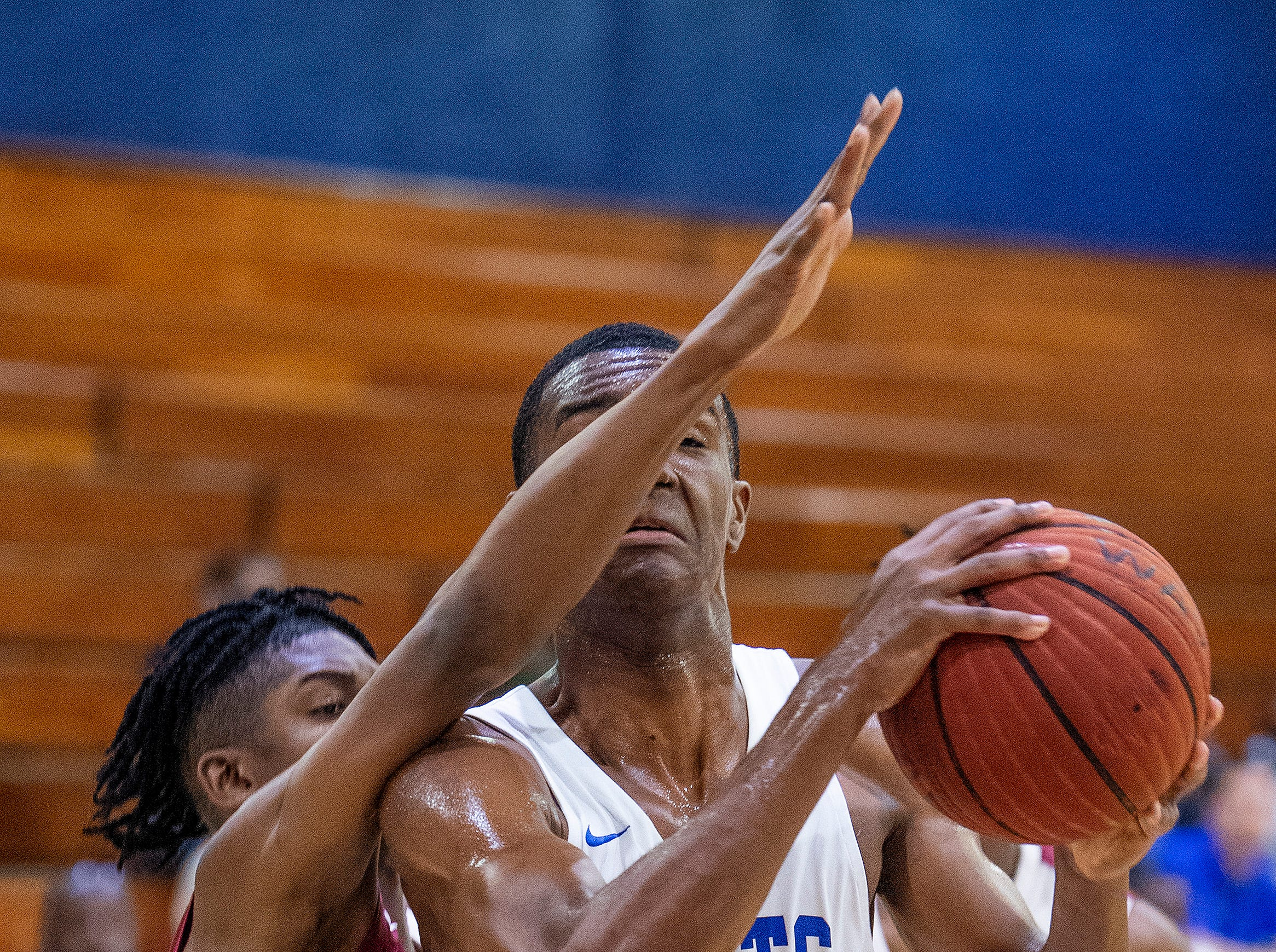 Lanier's Kendon Knight (1) against Northview's Tyshun Hicks (23) at the Lanier campus in Montgomery, Ala., on Tuesday February 12, 2019.
