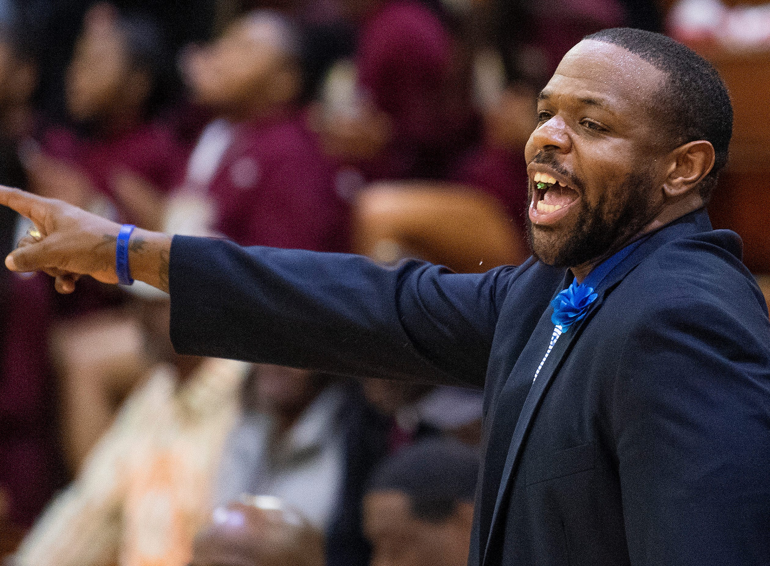 Lanier coach Brian Williams coaches against Northview at the Lanier campus in Montgomery, Ala., on Tuesday February 12, 2019.