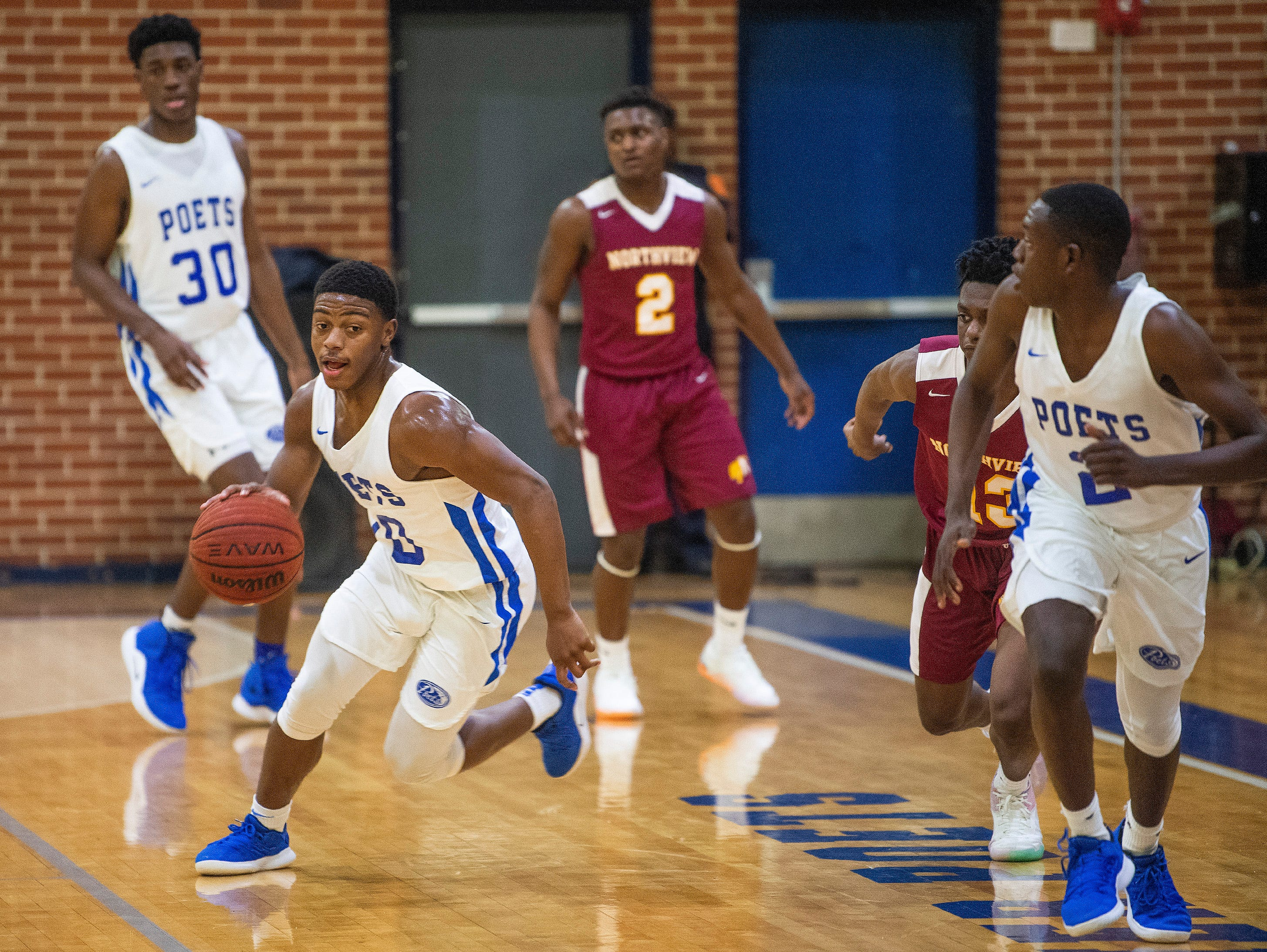 Lanier's Amani Johnson (10) steals the ball against Northview at the Lanier campus in Montgomery, Ala., on Tuesday February 12, 2019.