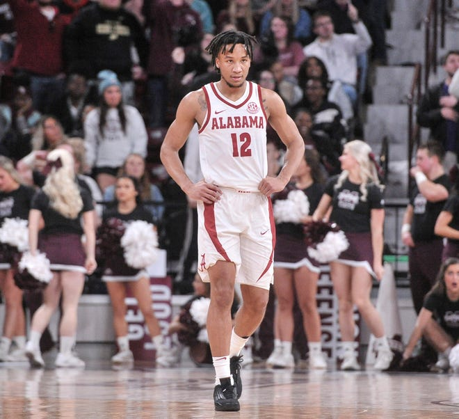 Feb 12, 2019; Starkville, MS, USA; Alabama Crimson Tide guard Dazon Ingram (12) reacts during the second half against the Mississippi State Bulldogs at Humphrey Coliseum. Mandatory Credit: Justin Ford-USA TODAY Sports