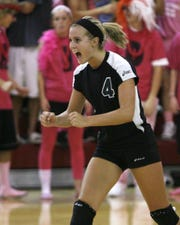 Kati Weir, shown here while in high school playing for Yorktown, is taking over the Wapahani volleyball program.