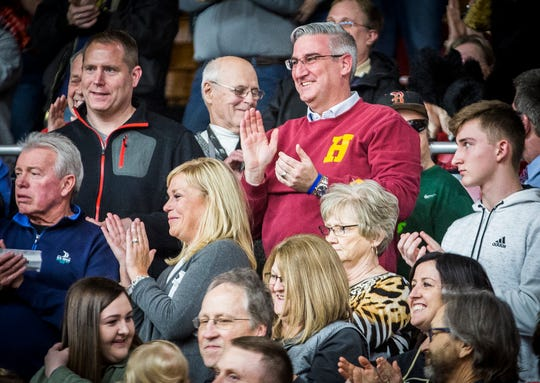 Gov. Eric Holcomb attends the Blackford versus Daleville game at Blackford High School Tuesday, Feb. 12, 2019.