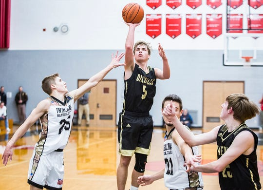 Daleville's Connor Fleming shoots past Blackford's defense during their game at Blackford High School Tuesday, Feb. 12, 2019.