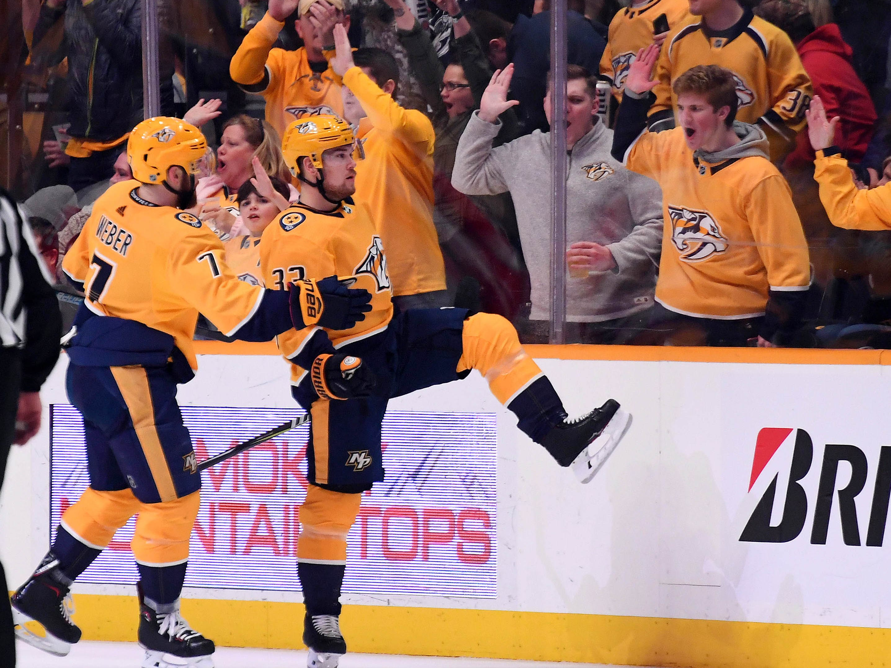 Nashville Predators right wing Viktor Arvidsson (33) celebrates after a goal during the second period against the Detroit Red Wings at Bridgestone Arena.
