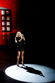 "Carrie Underwood performs during NBC's ""Elvis All-Star Tribute."""