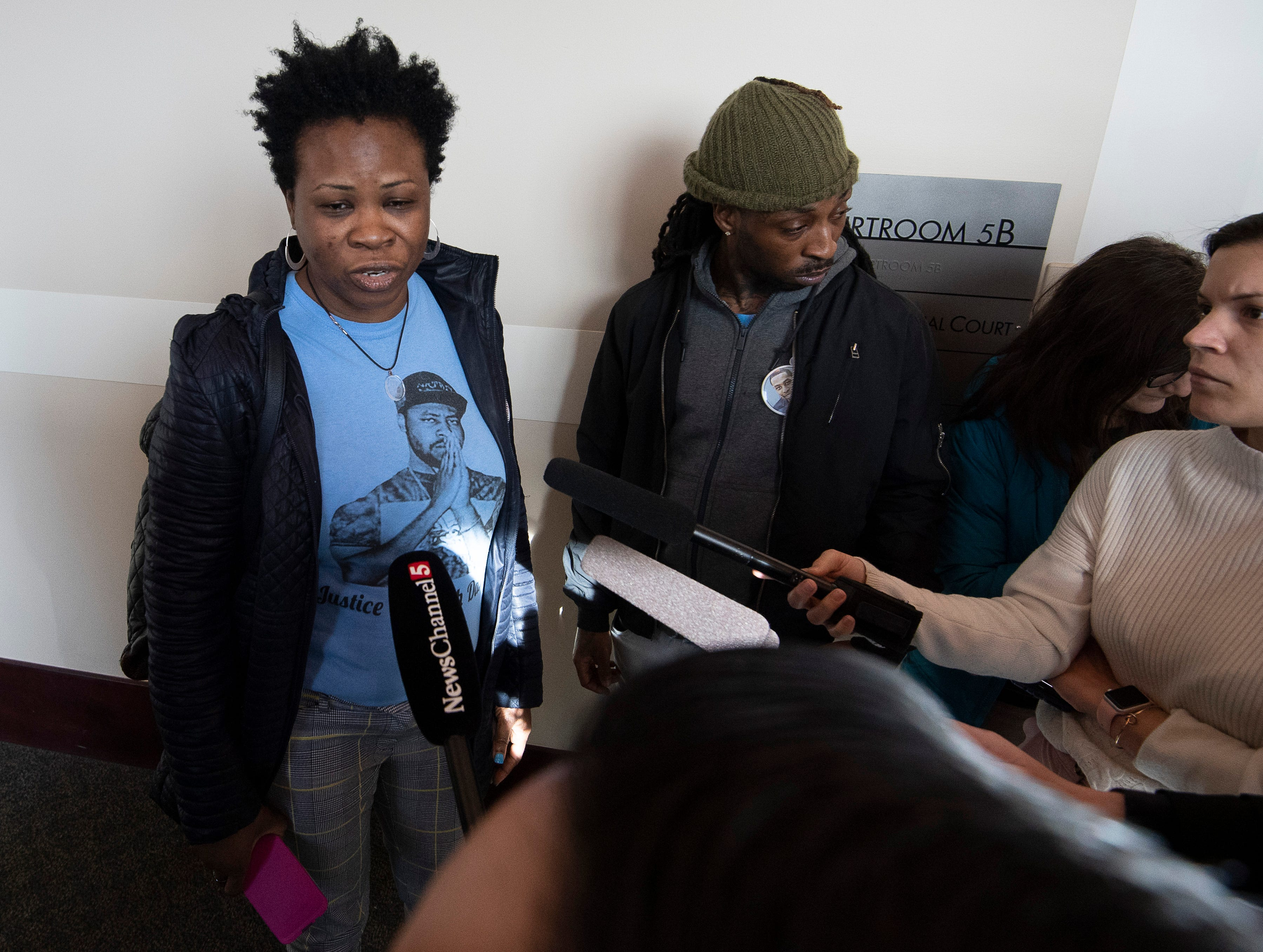 Shaundelle Brooks, mother of Waffle House victim Akilah Dasilva answers questions from the media after Travis Reinking pleaded not guilty to charges related to a mass shooting that killed four people and injured several others at a Waffle House last year during his arraignment hearing at Justice A. A. Birch Building Wednesday, Feb. 13, 2019 in Nashville, Tenn.