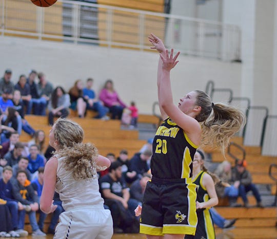 Fairview Junior Neyland Yeager with a jumper at District Tournament in Stewart County Feb. 11, 2019.