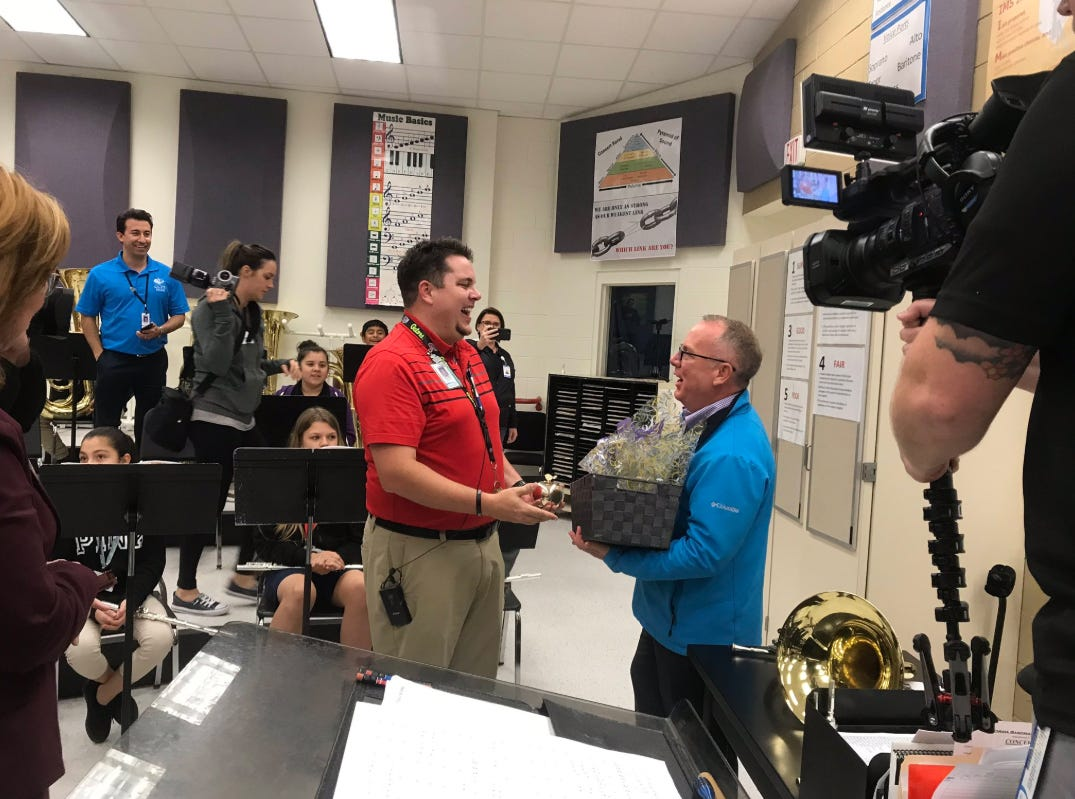 """The third Golden Apple recipient is Philip Barton who teaches band from grades 6 through 8 at Immokalee Middle School. Barton, 34, said he uses his class to prepare kids for life and hold them accountable for meeting expectations in a class they chose. """"If they can learn that lesson at a young age, then they're going to be better in college, they're gonna be better in high school."""""""