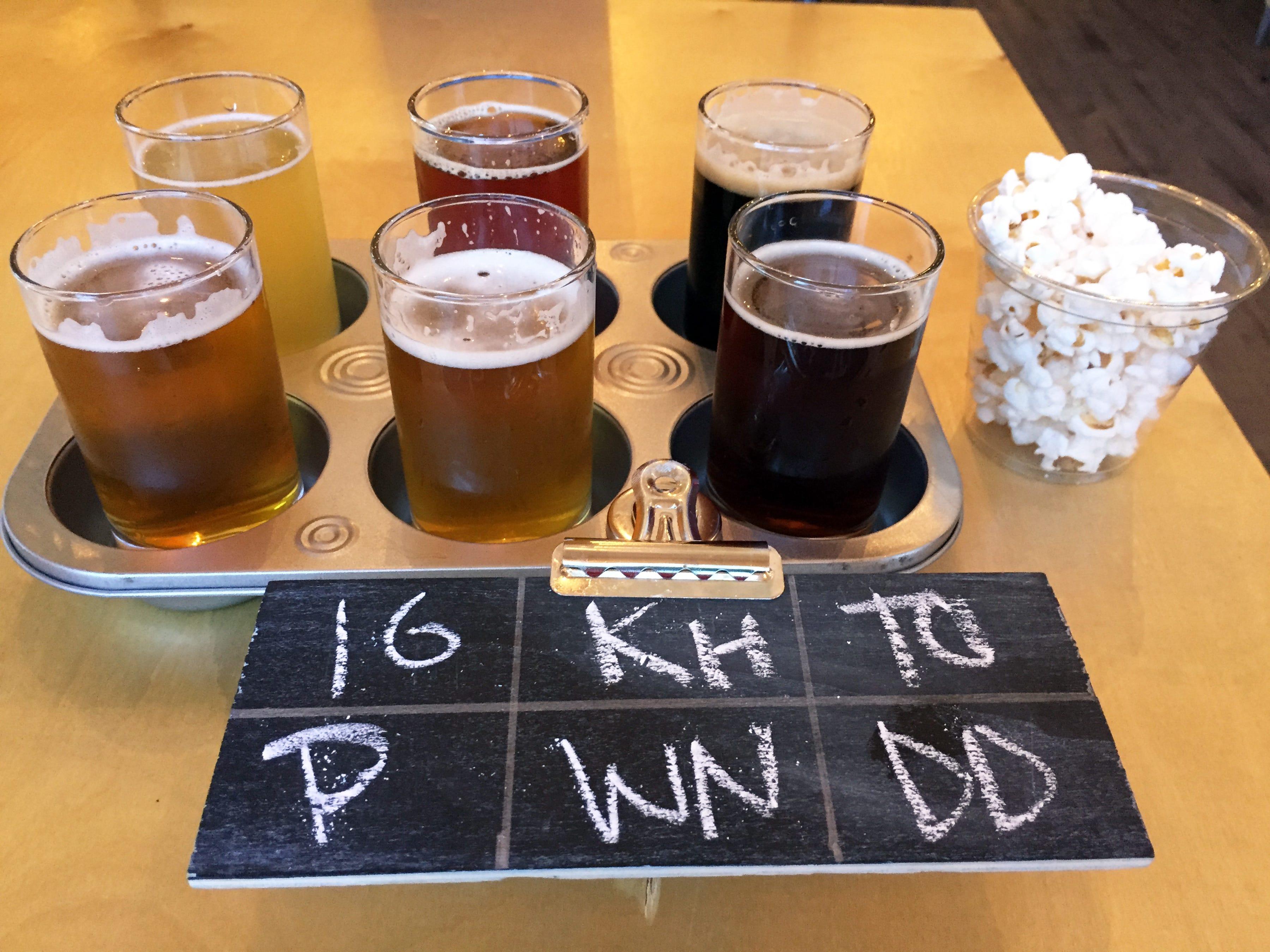 A sampler of craft beers at Momentum Brewhouse on Bonita Beach Road.