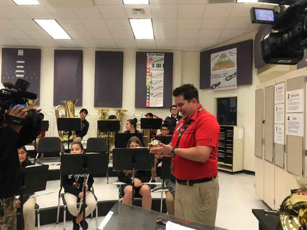 """The third Golden Apple recipient is Philip Barton who teaches band from grades 6 through 8 at Immokalee Middle School. """"It's a blessing and an honor,"""" he said."""