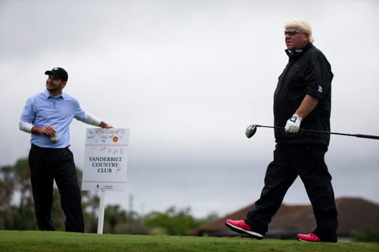 John Daly watches his ball after teeing off during the Chubb Classic, part of the PGA Tour Champions, at the Classics Country Club at Lely Resort in Naples, on Wednesday, February 13, 2019.