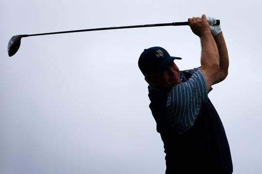 Dudley Hart of Naples tees off during the Chubb Classic Pro-Am at The Classics Country Club at Lely Resort on Wednesday.