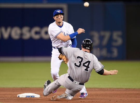 Toronto Blue Jays' Troy Tulowitzki throws to first after forcing out New York Yankees' Brian McCann (34) during the fourth inning of a baseball game Thursday, April 14, 2016, in Toronto. Carlos Beltran was safe at first, and Alex Rodriguez scored.