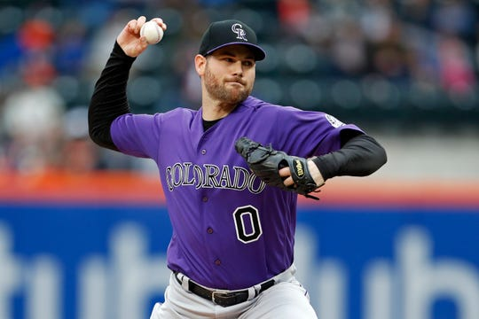 Colorado Rockies relief pitcher Adam Ottavino delivers a pitch during the ninth inning of a baseball game against the New York Mets in New York May 6, 2018.