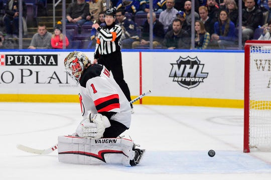 Feb 12, 2019; St. Louis, MO, USA; New Jersey Devils goaltender Keith Kinkaid (1) gives up a goal to St. Louis Blues left wing Jaden Schwartz (not pictured) during the first period at Enterprise Center.