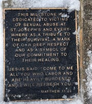 Memorial for victims of sexual abuse sits in a garden at the Church of St. Joseph's in the Mendhams. February 13, 2019.