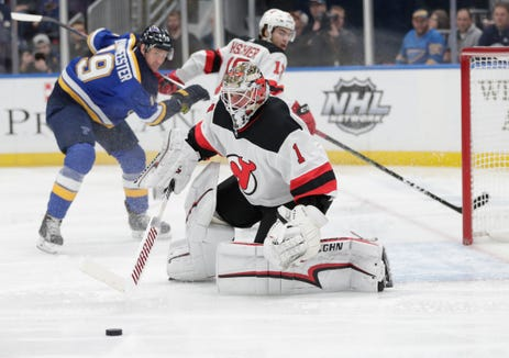 New Jersey Devils goaltender Keith Kinkaid (1) makes a save in the second period of an NHL hockey game against the St. Louis Blues, Tuesday, Feb. 12, 2019, in St. Louis.