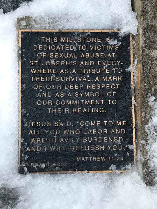Memorial to victims of sex abuse by priests outside St. Joseph Church in Mendham. Feb. 13, 2019
