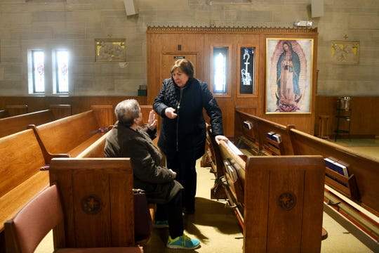 Rose of Palisade Park and Rosa Manocchio of Ridgefield, parishioners at St. Matthew's in Ridgefield talk before mass on Wednesday, February 13, 2019. Three priests accused of sexually abusing children were assigned to St. Matthew's Church in Ridgefield at some point during their priesthood. The Catholic dioceses of New Jersey began releasing the names of priests and deacons accused of sexually abusing children on Wednesday, February 13, 2019.