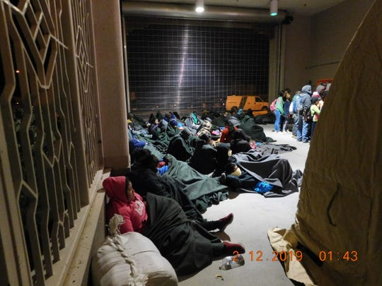 U.S. Customs and Border Protection said a group of 311 people were apprehended after making their way around the pedestrian fence at Sunland Park late Monday, Feb. 11, 2019.