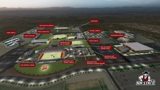 A rendering of the New Mexico State campus with all present, and future athletic facilities, according to the NM State athletics master plan.