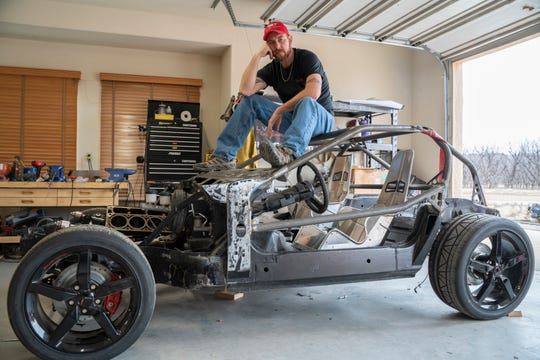 Erich Heinig, atop his Vet Cart, said the project is about 80 percent done. Heinig, of Las Cruces, hopes to race, and eventually sell, the cart to raise awareness and funds for veterans programs.