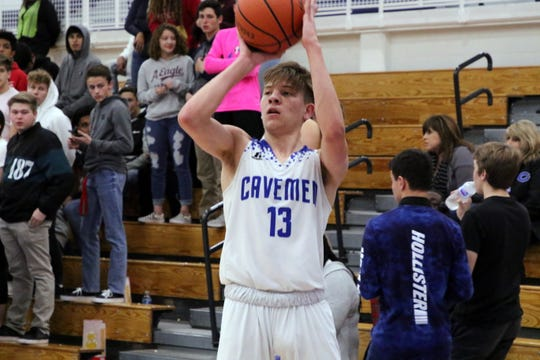 Stevie Bartlett takes a 3-point shot against Clovis on Feb. 12. Bartlett has averaged 5.6 points, 0.8 assists, 5.6 rebounds, 0.4 steals and 0.7 blocks for Carlsbad in 25 games.