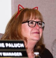 Alamogordo City Commissioner Nadia Sikes in cat ears in support of Kitty City NM. Kitty City presented on an expansion of the community cat programs.