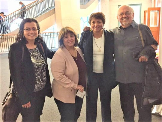 Eastern New Mexico University-Ruidoso professor Cynthia Orozco, third from left, is greeted by Marta Carrizales Perales, daughter of LULAC founder Alonso Perales, and two University of Texas professors.