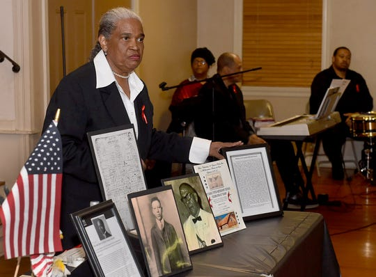 HIstorian Marie Marcil gives a presentation on the Opelousas Massacre an event that occurred in the Opelousas area following the Civil War. The Black History Month event was held Thursday, Feb. 7, at the South Park Civic Center.