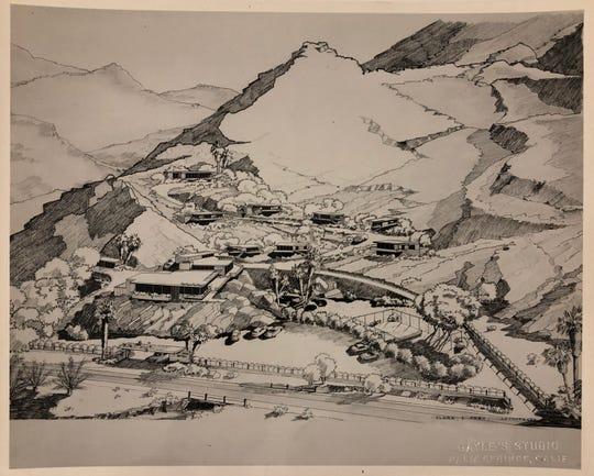 Rendering of Desert Hills Hotel, 1947