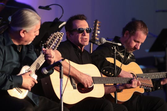"""jimi FITZ performs """"Desert Sunset"""" with Sergio Villegas and Jimmy Palmer at a celebration of life ceremony for Steve Madaio, Palm Desert, Calif., Tuesday, February 13, 2018."""