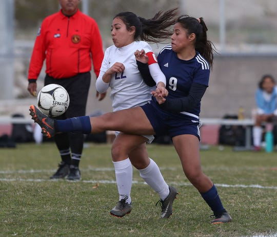 Britny Gutierrez , 9, of Desert Hot Springs fights for a loose ball against Vasquez High School during their loss in the CIF playoffs, February 12, 2019.