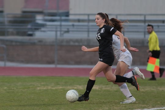 Malia Falk plays for Palm Desert against Granite Hills in a Division 4 quarterfinal soccer game, Tuesday, February 12, 2019.