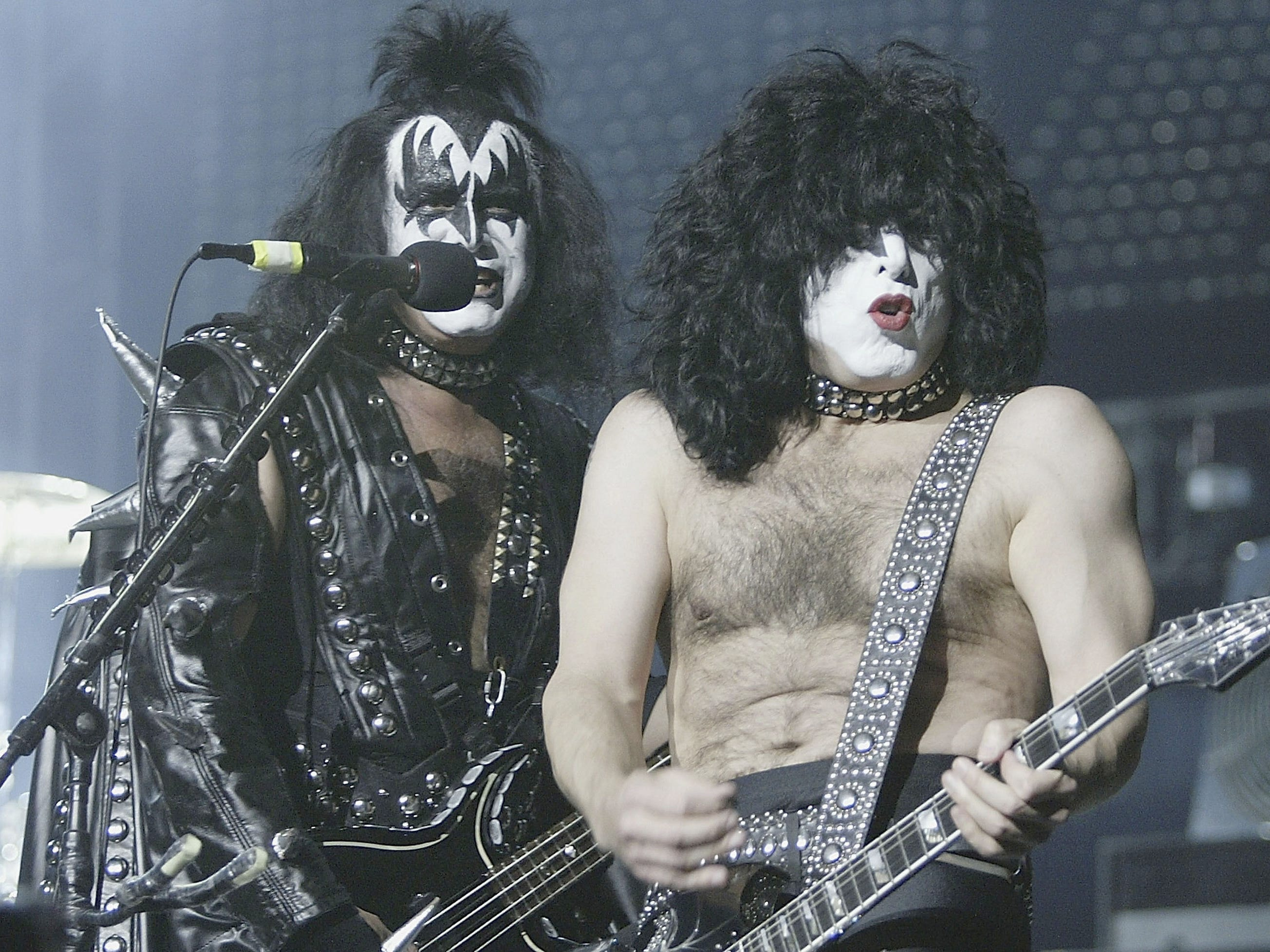 MELBOURNE, AUSTRALIA - MAY 13:  Gene Simmons, and Paul Stanley of KISS perform live during the 2004 Rock the Nation World Tour,  at the Rod Laver Arena, May 13, 2004 in Melbourne, Australia. (Photo by Robert Cianflone/Getty)