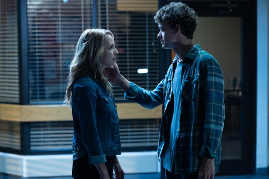 "Tree (Jessica Rothe) and Carter (Israel Broussard) are a couple in ""Happy Death Day 2U."""