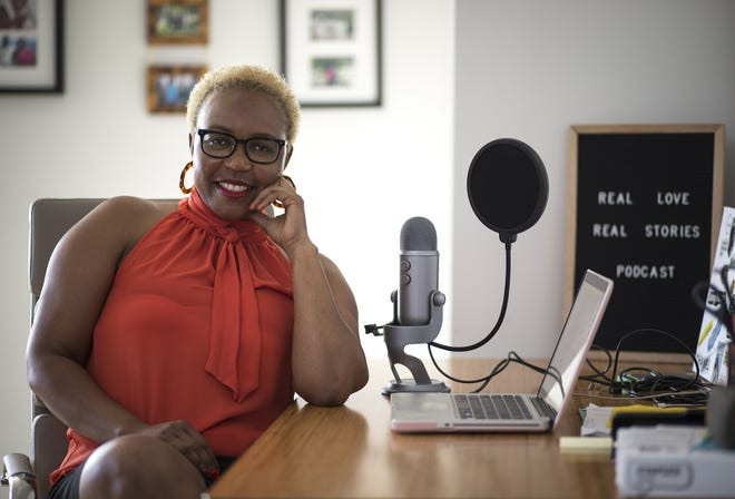 Kanu Jacobsen records a podcast in her Phoenix apartment about couples and how they met.