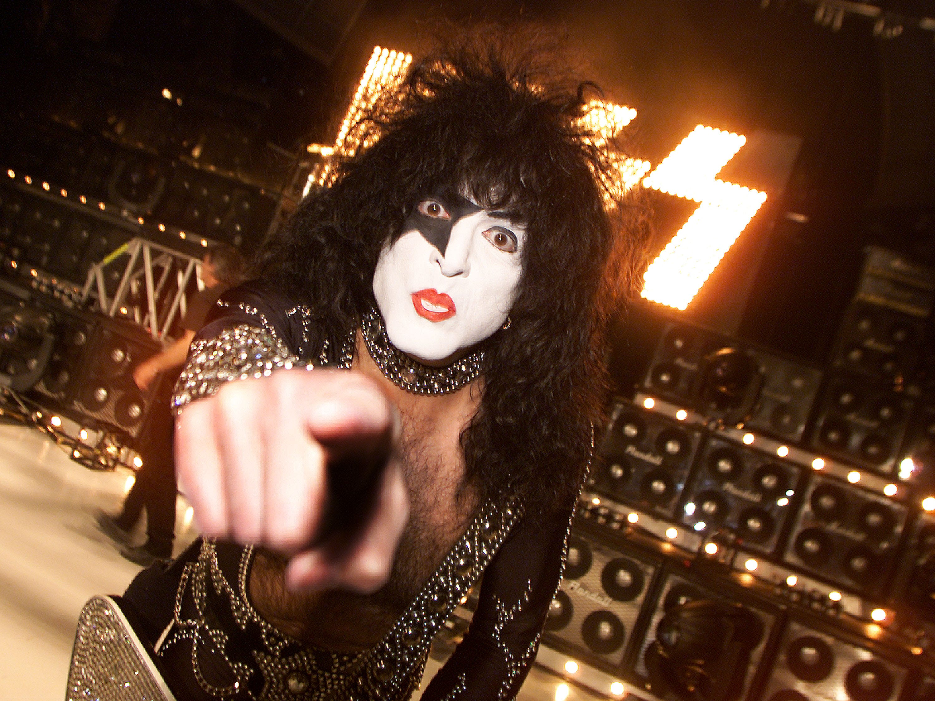 """Paul Stanley of Kiss performs at a taping of """"American Bandstand's 50th: A Celebration"""" at the Pasadena Civic Auditorium on April 19, 2002. Photo by Kevin Winter/ImageDirect."""