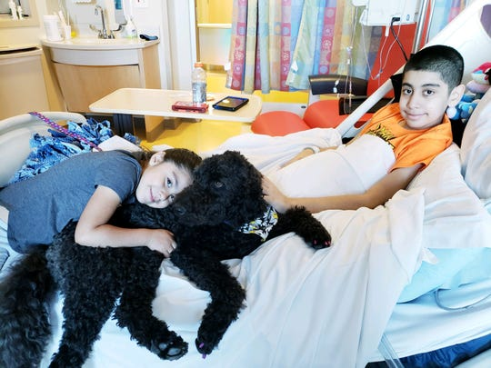 Gabriel Gonzalez was airlifted from Yuma to Phoenix Children's Hospital after he went into cardiac arrest on April 4, 2018. He received a heart transplant on July 4, 2018. Here with a therapy dog and sister Aliyah, 7.