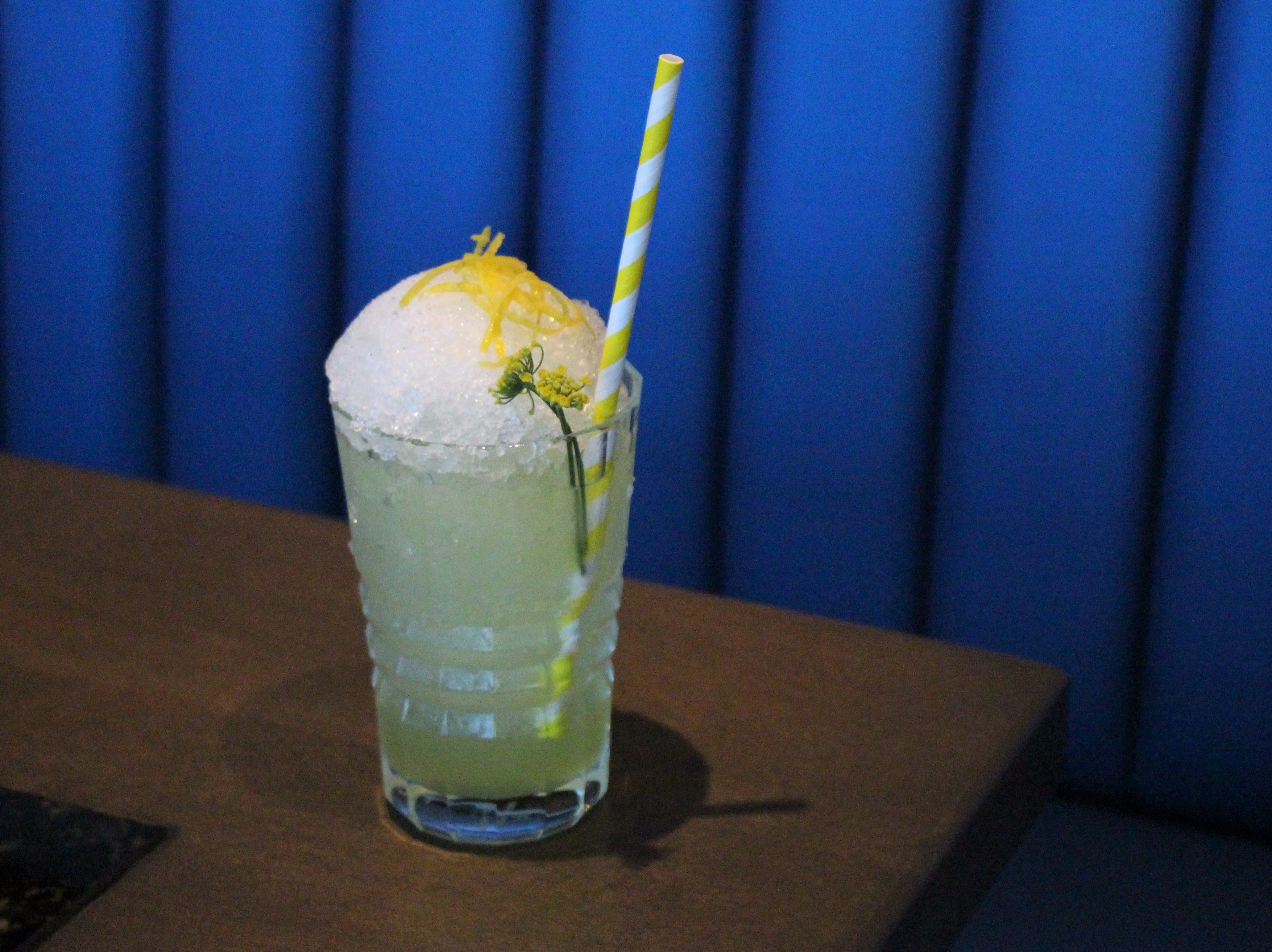 The Amalfi Frappe at Little Rituals in downtown Phoenix is served over crushed ice with a lemon zest garnish.