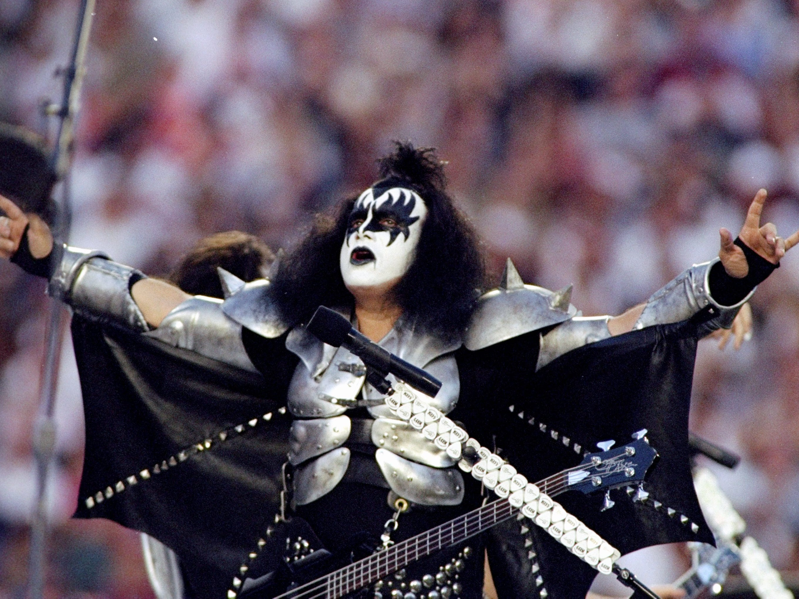 31 Jan 1999:  Gene Simmons of KISS performing during the pre-game special of the Super Bowl XXXIII Game between the Denver Broncos and the Atlanta Falcons at the Pro Player Stadium in Miami, Florida. The Broncos defeated the Falcons 34-19.