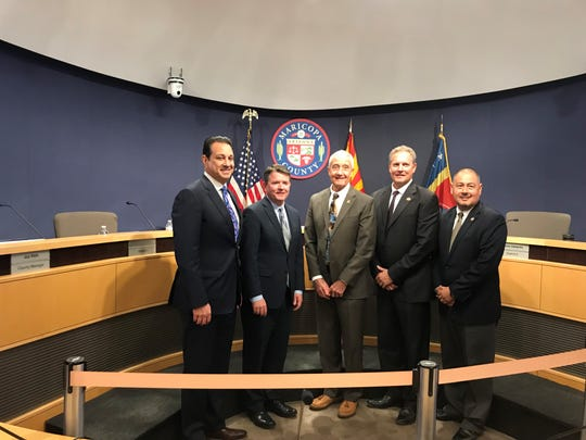 The Maricopa County Board of Supervisors poses for a photo after Jack Sellers' appointment. The board appointed Sellers to the open supervisor position on Feb. 13, 2019.